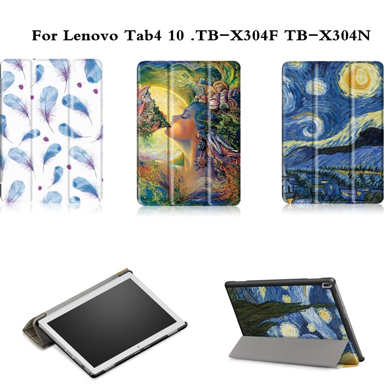 Fashion Case for Lenovo TAB4 10 Print PU Leather Flip Case for Lenovo TAB 4 10 TB-X304F TB-X304N with Flip Stand Tablet Cases slim fit stand feature folio flip pu hybrid print case for lenovo tab 3 730f 730m 730x 7 inch