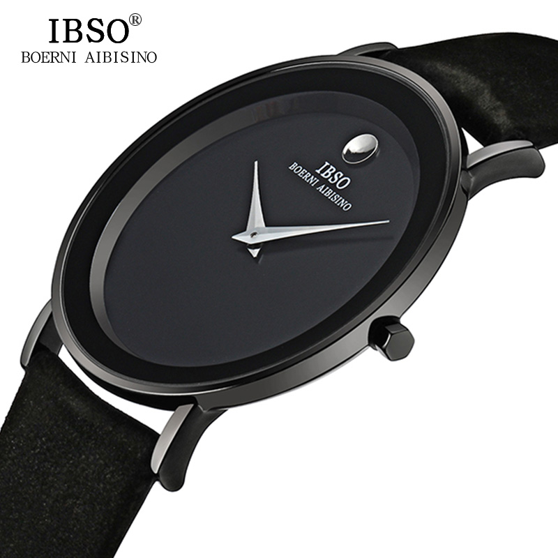 IBSO 7MM Ultra Slim Mens Watches Brand Luxury Genuine Leather Strap Fashion Quartz Watch Men 2019 Waterproof Relogio Masculino