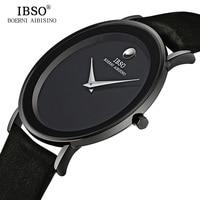 IBSO 7MM Ultra Slim Mens Watches Brand Luxury Genuine Leather Strap Fashion Quartz Watch Men 2018 Waterproof Relogio Masculino