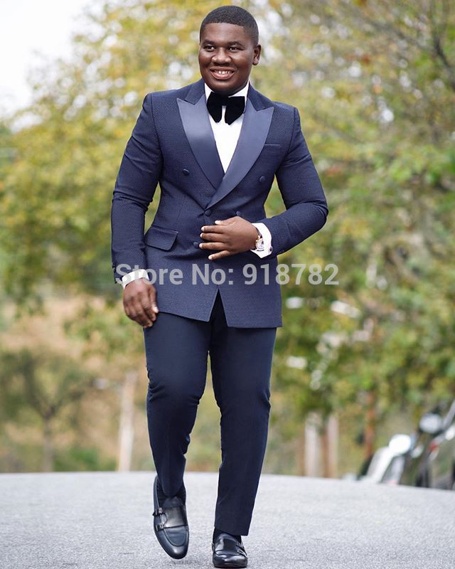 Navy Blue Formal Suit Men Double Breasted Slim Fit 2018 New Design Custom Made 2 Pieces Wedding Suit For Men Groom Suits Tuxedo