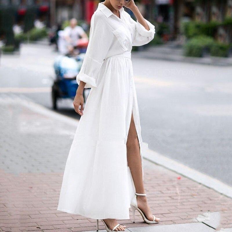 White Shirt Dress Women Long Sleeve Button Plus Size Dress Summer 2019 Cotton Casual Dress Tunic Ladies Long Dresses Women 3XL in Dresses from Women 39 s Clothing