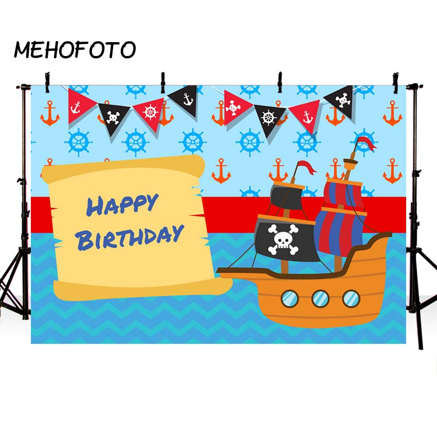 Photography Background Caribbean Pirate Ship Birthday Decor Leaf Safari Party flags Photocall Children Photo Studio