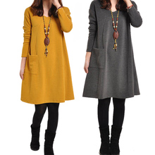 Women Dresses With Pocket Solid Color Long Sleeve V Neck Loose Casual Autumn Winter Dress Plus Size KQS8