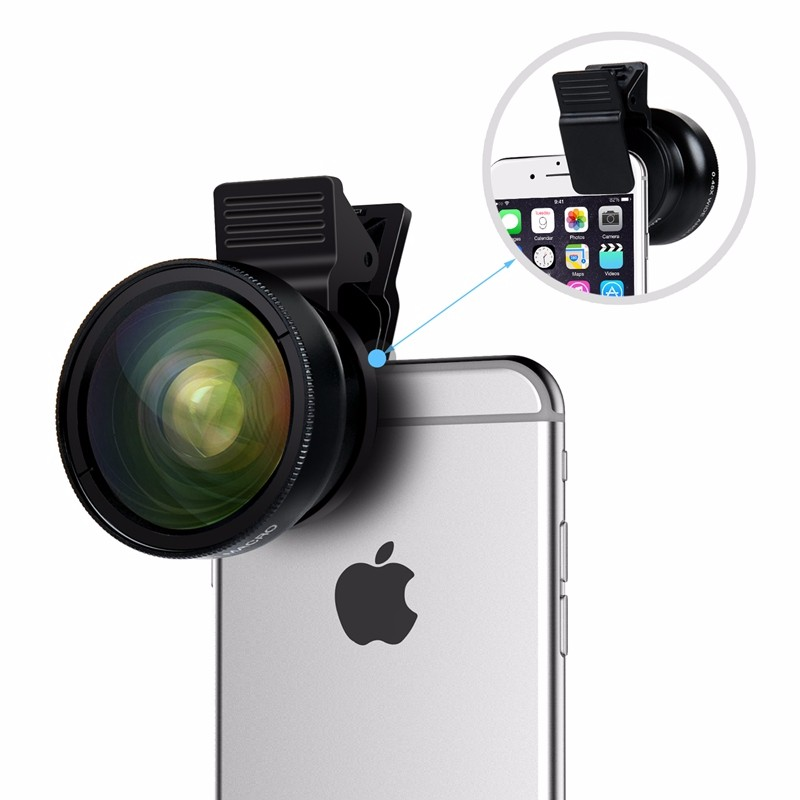 TURATA Fisheye Lens 2 in 1 Professional HD Phone Camera Lens Kit 0.45X Wide Angle+12.5X Macro Clip-on Fish Eye for Smartphone 2