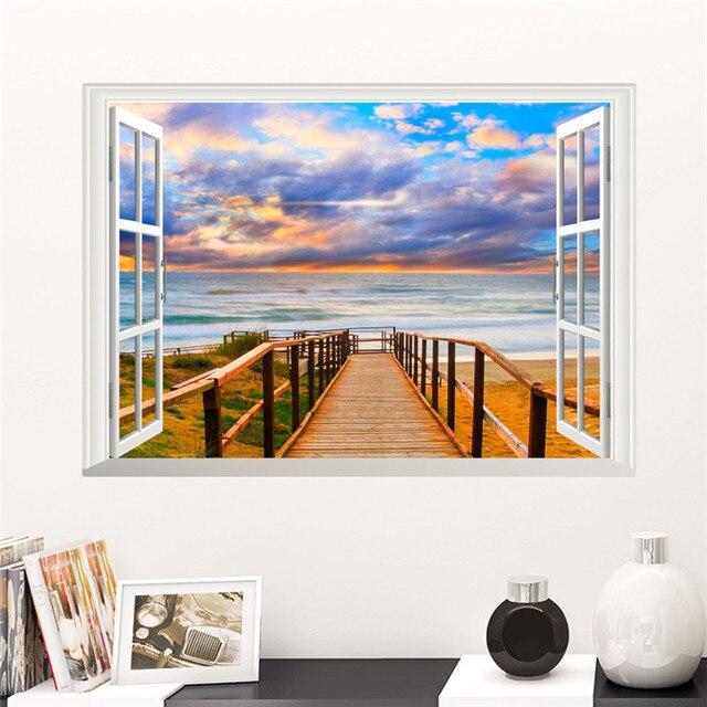 Sea Beach Island 3D Window Wall Stickers 6