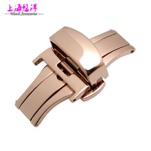 Watch strap buckle accessories golden butterfly automatic folding clasp double click 16|18|20|22mm