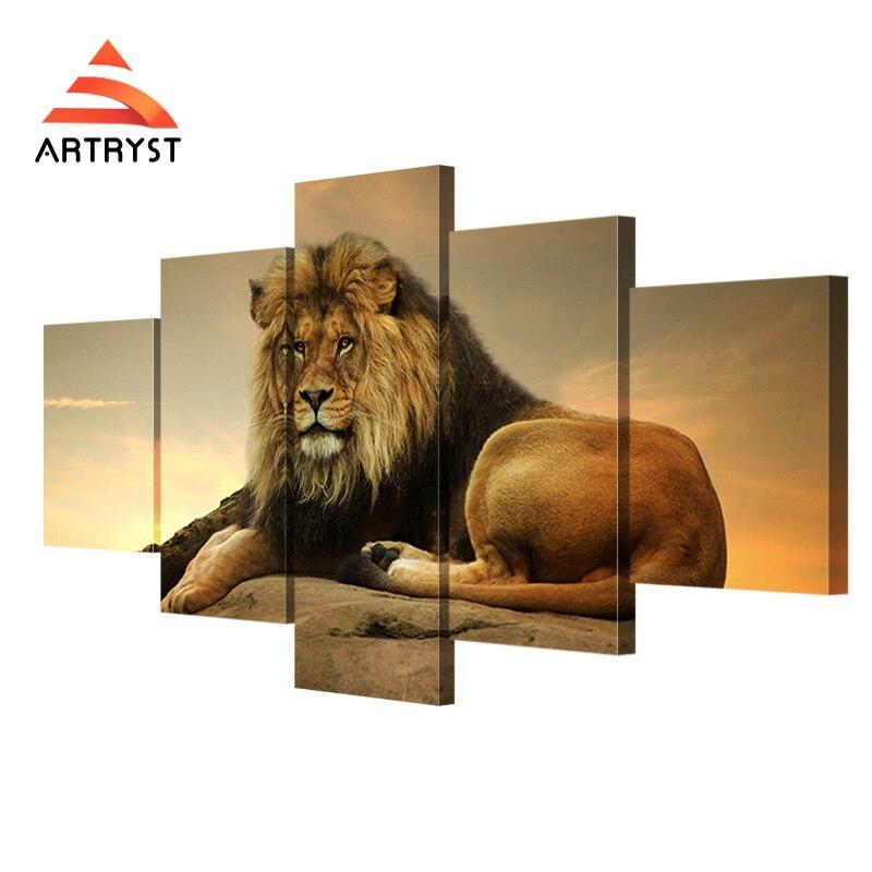 Modern home 5-panelowy modułowy obraz na płótnie król lew obraz - Wystrój domu - Zdjęcie 1
