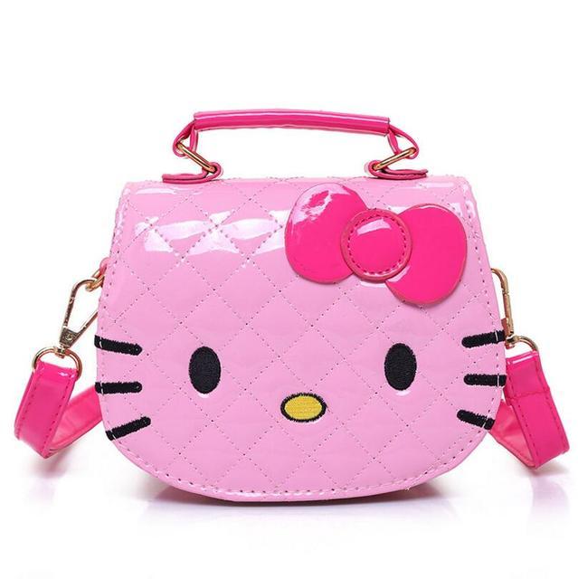 196117f8de95 New Cute Mini Bag Children Hello Kitty Handbag For Women Cartoon Cat PU  Waterproof Should Bag