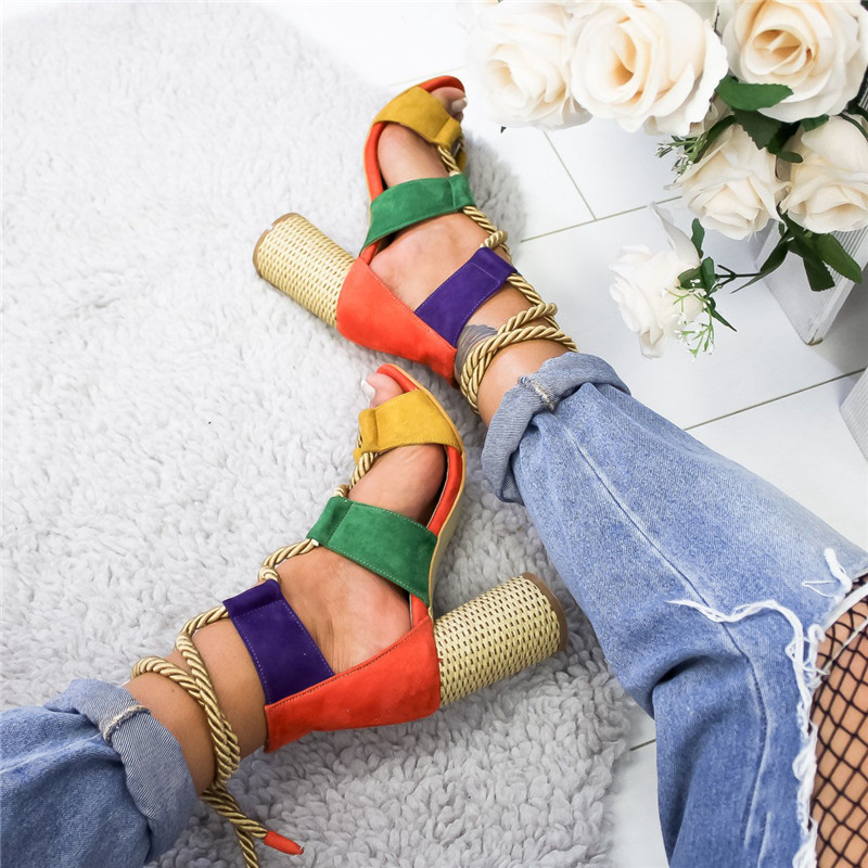 ORANGE Bohemian Summer Wedge Sandals Women Pointed Fish Mouth Lace Up Platform Shoes