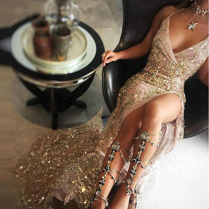 JOYINPARTY Night club elegant 2019 vestidos de festa women sexy dresses gold shiny sequin long evening maxi spring party dress