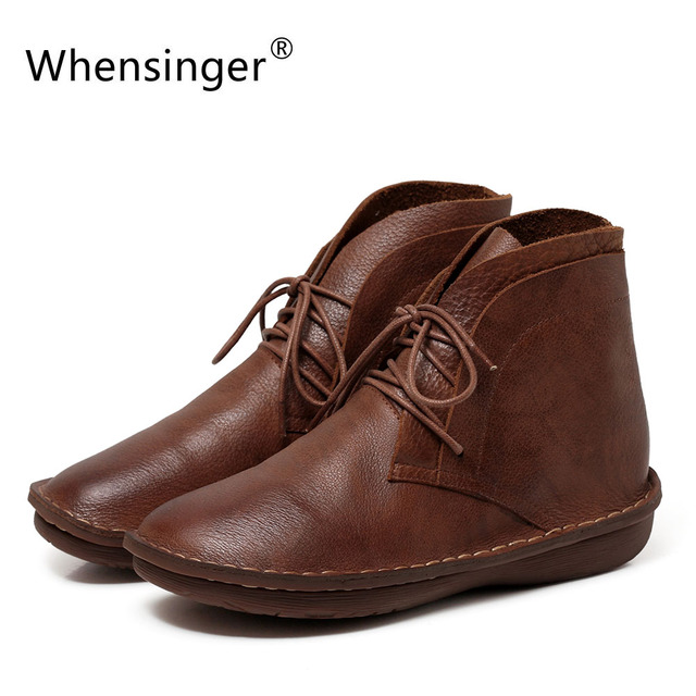 Whensinger - 2017 New Women Boots Lace-Up Genuine Leather Shoes Round Toe Handmade Design 0503