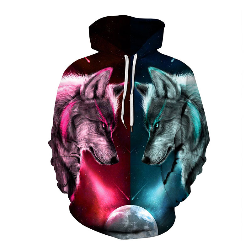 Red and Green Wolf Hoodies Hooded Unisex Hat 3D Sweatshirts Print Colorful