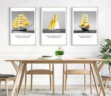 Poster Nordic Yellow Boat Sailing Landscape Poster