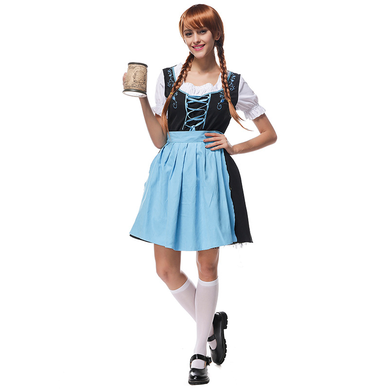 Costumes Adult Women Beer Festival Sweet Blue and Black Princess Dresses Suit National Costumes Oktoberfest Event Costumes