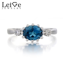 Leige Jewelry London Blue Topaz Ring Wedding Ring November Birthstone Oval Cut Blue Gemstone 925 Sterling Silver Ring for Her