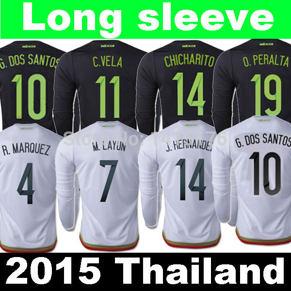 a2a666a1378 ... wholesale thailand chicharito 2015 mexico long sleeve jersey 2016 black white  g dos santos 15 16