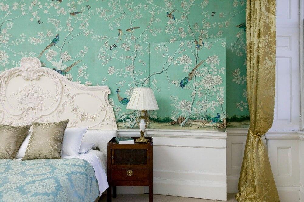 Украшение, ручная роспись, шелковые обои, живопись птиц, цветов и бабочек, ручная роспись, обои, много фотографий на выбор