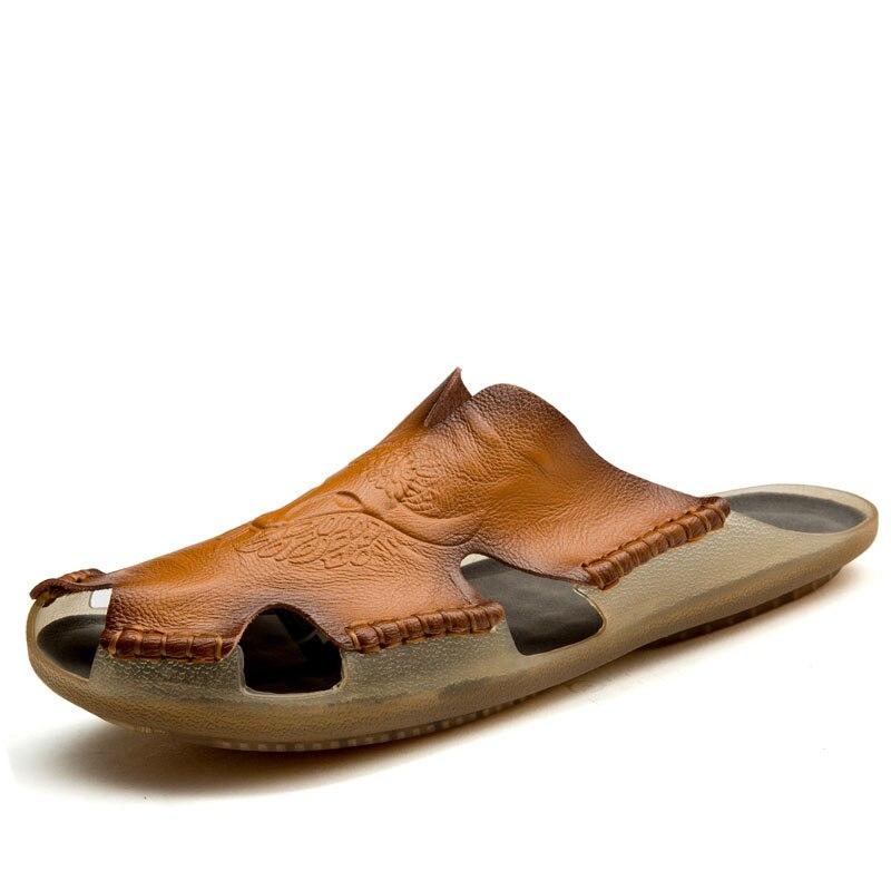 Big Size Men Summer Leather slippers Soft indoor outdoor leather slipper size 48