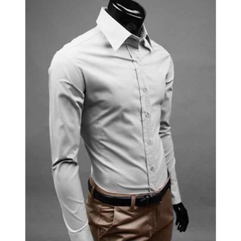 073bbdf83 ... Gran venta de camisa de negocios de estilo británico para hombre de manga  larga para hombre ...