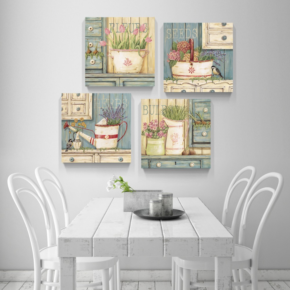 ④canvas painting 4panels The flower Painting Canvas Living Room ...