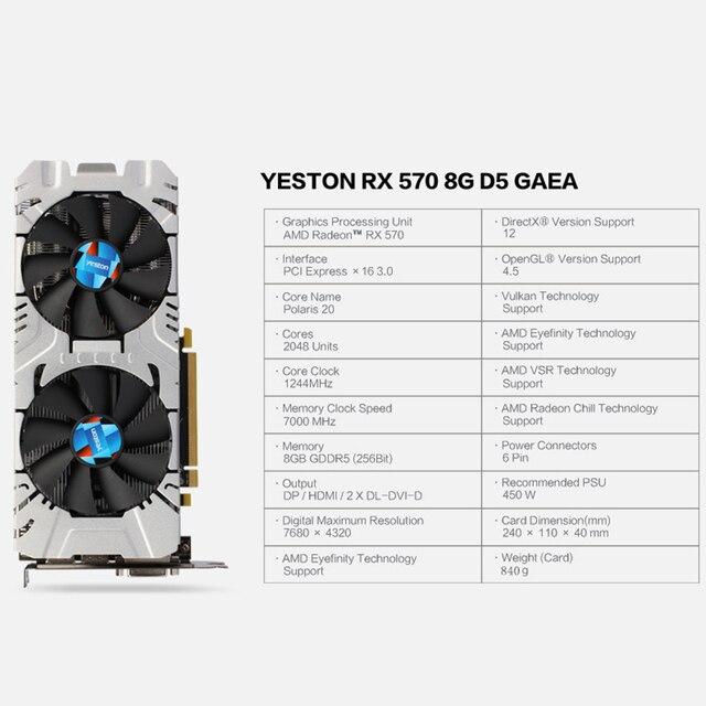 Yeston Radeon RX 570 GPU 8GB GDDR5 256 bit Gaming Desktop computer PC Video Graphics Cards support DVI/HDMI PCI-E X16 3.0 1