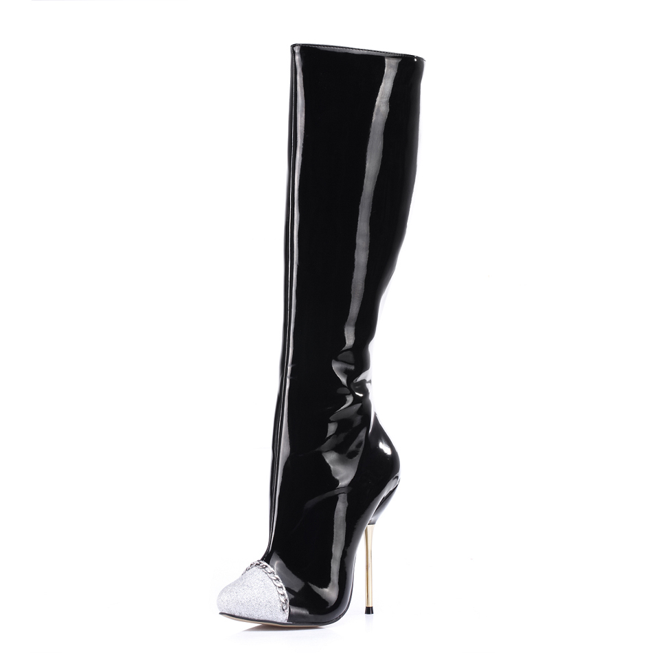 2016 Winter Black Sexy Party Shoes Women Stiletto High Iron Heels Cap-Toe Chain Ladies Knee-High Boots Zapatos Mujer 3845bt-b2