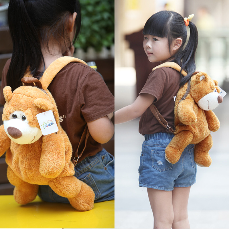Candice guo! super cute plush toy lovely cartoon bear backpack bag schoolbag girls boys kindergarten birthday Christmas gift 1pc candice guo super q cartoon chubby hamster squirrel plush toy doll backpack shoulder bag birthday gift 1pc