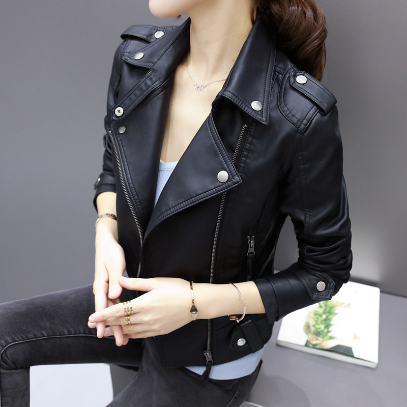 Locomotive clothes pu   leather   women short section spring and autumn 2017 Korean version of the new Slim black jacket
