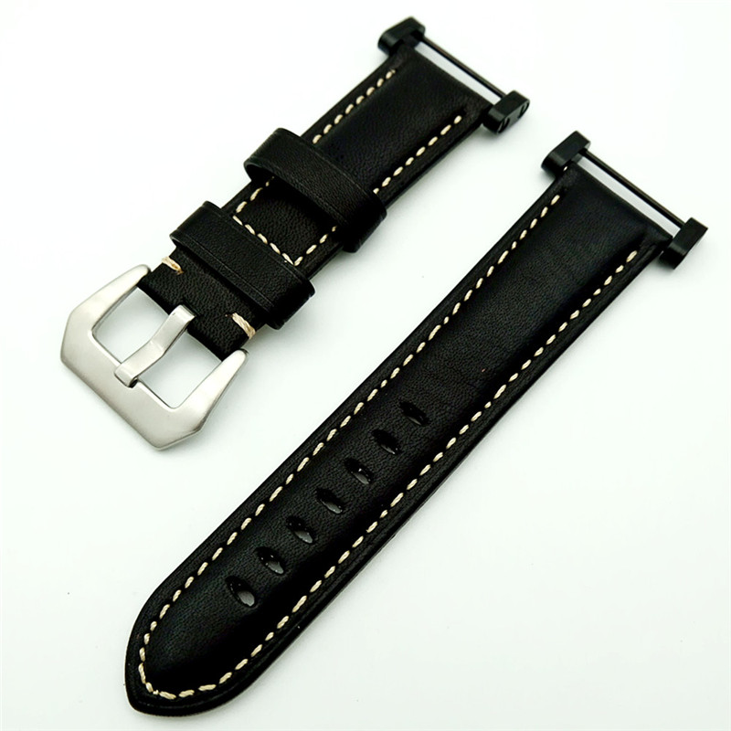 For Suunto Core band Black With Stainless Steel Clasp + Adapter +2Pcs Tool  Genuine Leather strap