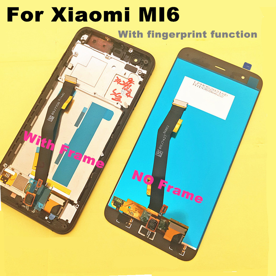 5 15 FOR Xiaomi Mi6 Mi 6 LCD Display Touch Screen tools Replacement Accessories with Fingerprint
