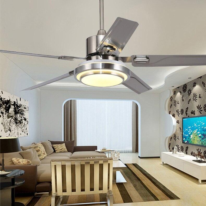 5 lâminas Indoor luz Ventilador de Teto com controle remoto Ventilador de Teto de Níquel Escovado 42 48 52 polegada