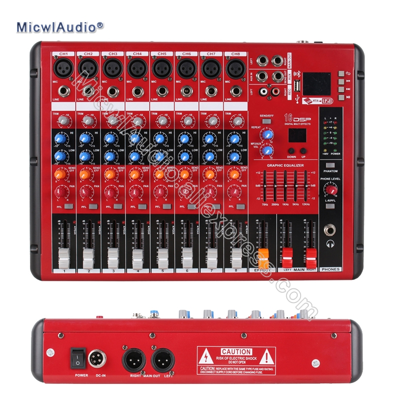 8 Channel Sound Console Digital Mixer for DJ Recording Studio Stage Bluetooth Microphone Mixing with USB staraudio pro 4 channel 2000w live studio dj stage amplifier powered mixer with mp3 bluetooth usb sd 16 dsp smx 4000b