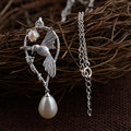 GZ 925 Silver Necklaces Women for Necklaces 45cm Chain Pearl Charm Bird Pendant Necklace S925 Thai Solid Silver Jewelry