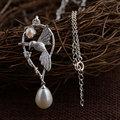 GZ 925 de Plata Collares de Las Mujeres para Collares 45 cm Cadena Del Encanto de La Perla Colgante de Aves Collar S925 Thai Joyería de Plata Maciza