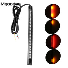 Motorcycle Flexible Strip Tail Brake Stop Turn Signal License Plate Light Integrated 32 LEDs 98cm Red Amber Color Soft Rubber motorcycle flexible strip tail brake stop turn signal indicator blinker license plate light integrated smd 48 leds 12v