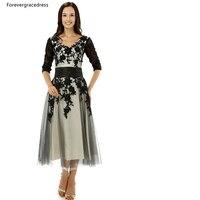 Forevergracedress Vintage Mother of the Bride Dress Black Applique Tea Length Short Evening Party Dress Plus Size Custom Made