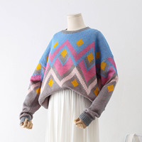 Big Size Clothes Argyle Sweater Women Jumper Lazy Wind Batwing Sleeve Knitting Pullover Christmas Casual Woman Sweater Oversize