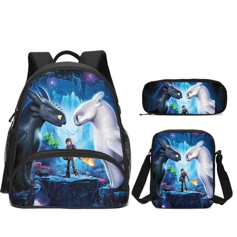 3Pcs Set Portfolio School Bags For Boys Girls Cartoon How To Train Your Dragon Night Fury