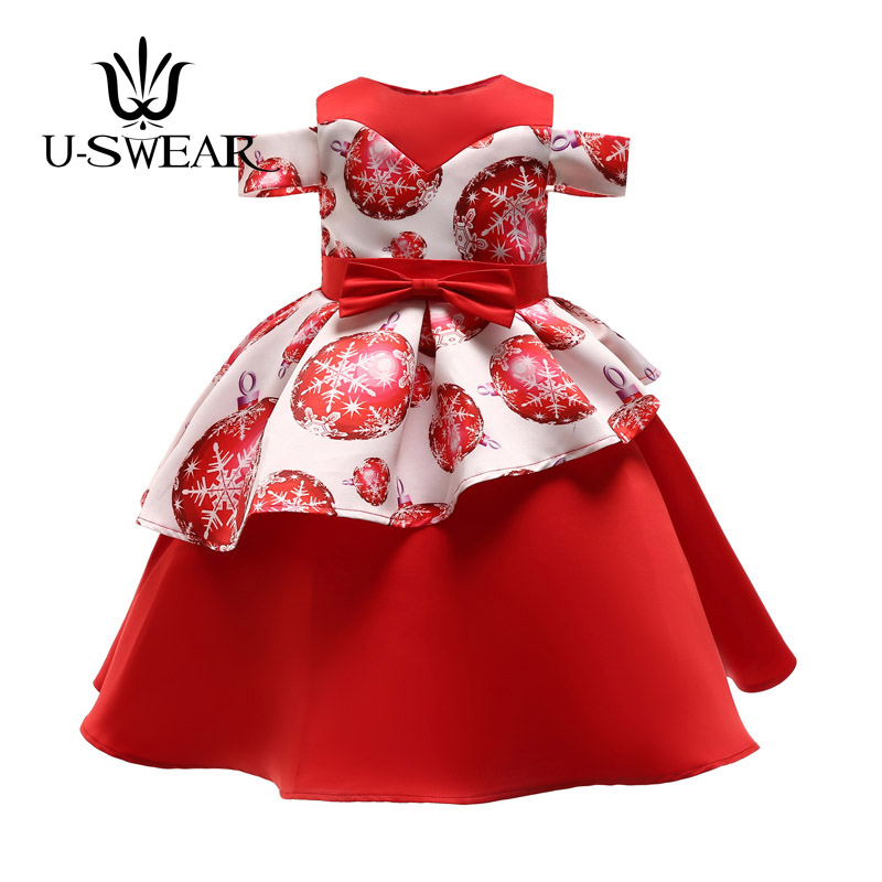 U-SWEAR 2019 New Arrival Kid   Flower     Girl     Dresses   O-neck Short Sleeve Off Shoulder Snowflake Print Ball Gown   Dress   Elegant