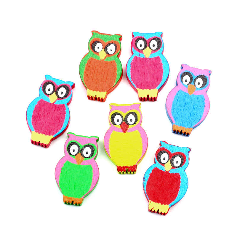 Detail Feedback Questions about LF 50Pcs Wood Colorful Owl Wooden ... f08167d8d993