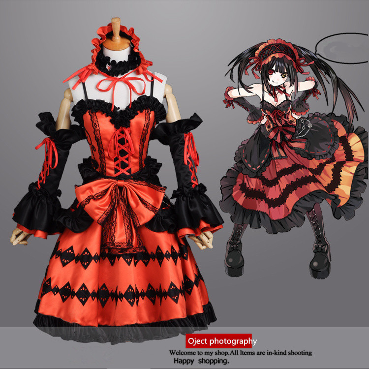 Japan Anime Date In Live Cosplay Character Kurumi Costume Skirt Luxury Dress With Gloves And Head Wear For Girl Or Women Kids Costumes Accessories From