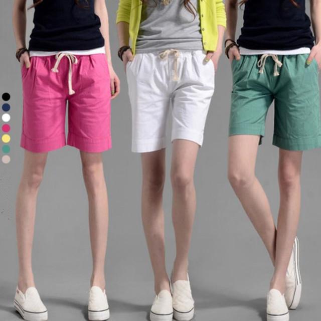 2016 Verão Mulheres Doce Cor Shorts Cintura elástica Casual Algodão Linho Calças Curtas Plus Size