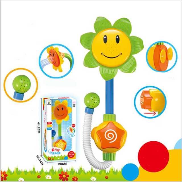 Crianças dos miúdos Do Bebê Girassol Brinquedo de Banho Torneira Do Chuveiro Banho de Água Jogar Aprendizagem Toy Presente Pacote de Varejo