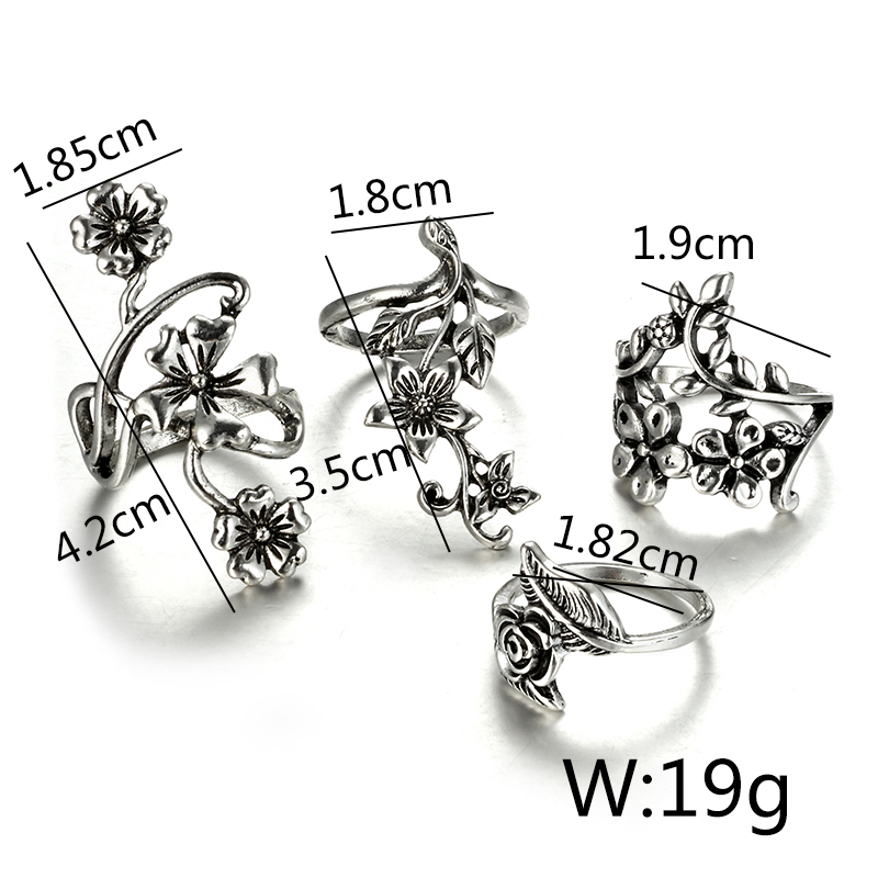 Купить с кэшбэком Tocona 4pcs/set Antique Silver Color Vintage Bohemia Ring Set Rose Flower Rings for Women Charm Bohemia Floral Knuckle Ring 6047