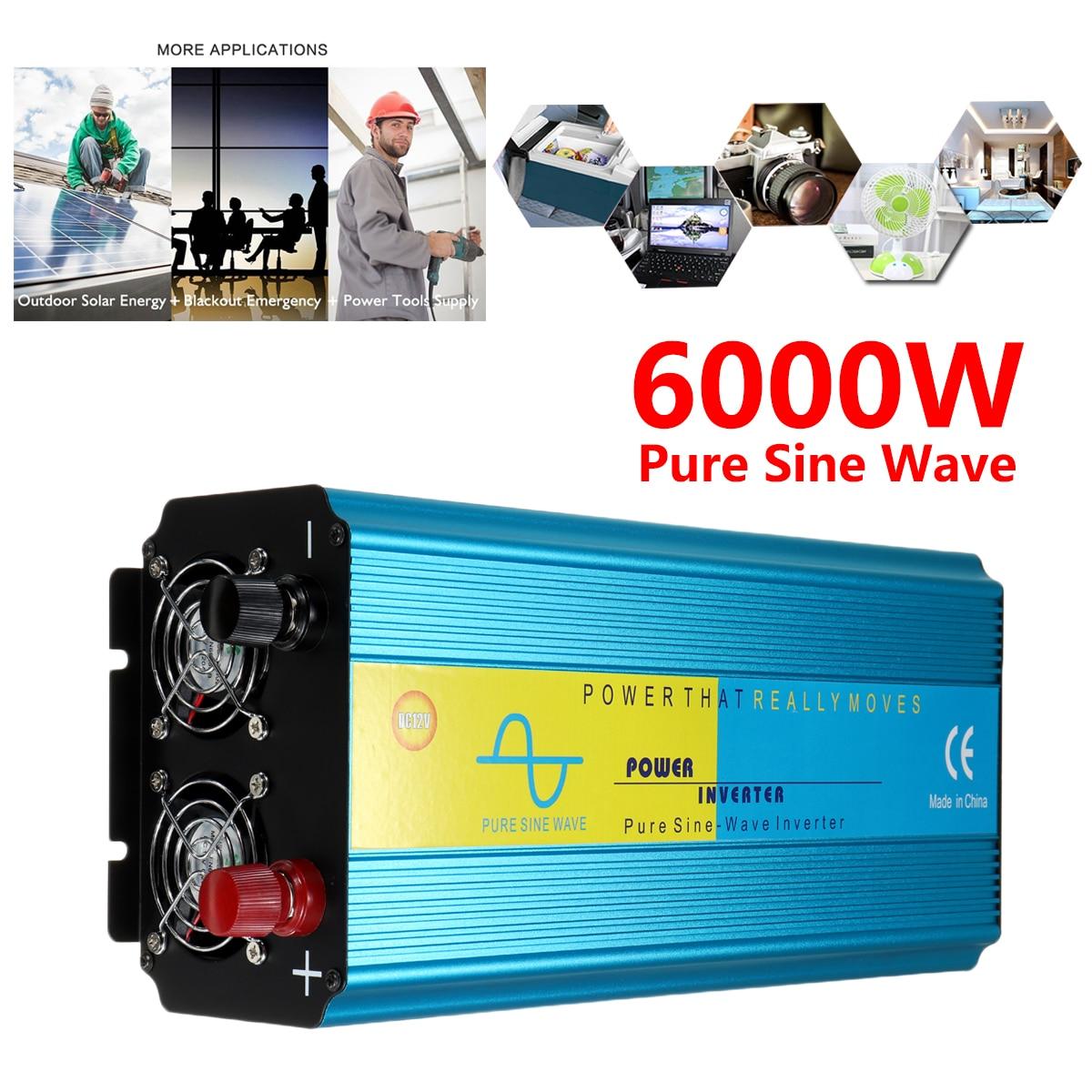 цена на PEAK 6000W Voltage Transformer Pure Sine Wave DC12/24V To 220V Caravan Watt Power Inverter Car Camping Insurance Intelligent