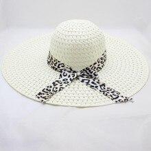 8fa22264 Sleeper #501 2019 Women Leopard Print Big Brim Straw Hat Sun Floppy Wide  Brim Hats