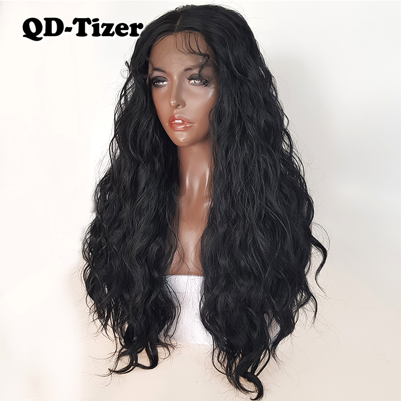 Image 5 - QD Tizer Natural Black Loose Wave Synthetic Front Lace Wig Resistant Hair Full Density  Baby Hair For Black Women-in Synthetic Lace Wigs from Hair Extensions & Wigs