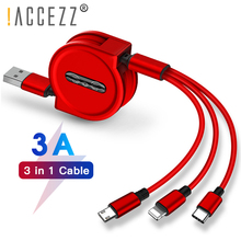 !ACCEZZ 120cm 3 in 1 Retractable Cable Lighting Micro USB Type C For iPhone X 8 Samsung S8 S9 Huawei P9 Portable Charging Cables