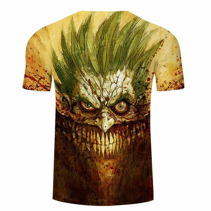 Джокер лицо 3D печатных Женская футболка мужской бренд футболки с короткими рукавами летняя верхняя часть одежды для путешествий Homme Marvel Camiseta 6XL zootop bear