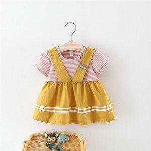Комплект одежды из двух предметов для младенцев платье для новорожденных девочек от 0 до 3 лет милое летнее платье в полоску платье с коротки...